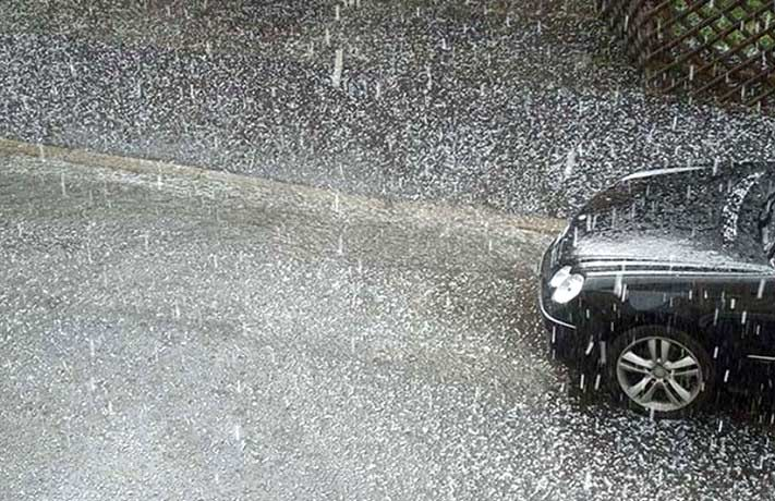 driving in hail storm